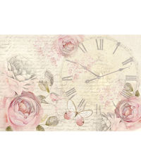 Shabby Rose Clock - Decoupage Rice Paper