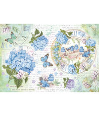 Hidrangea and Birds - Decoupage Rice Paper