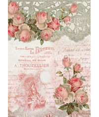Delicate Roses on Pink Background with Lace Band and Phrases in French - Easy Paper