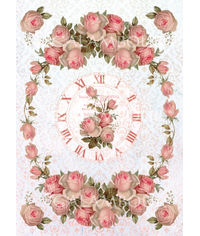 Old Clock with a Frame of Pink Roses - Easy Paper
