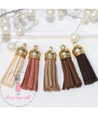 Small Faux Leather Tassel - Earty tones
