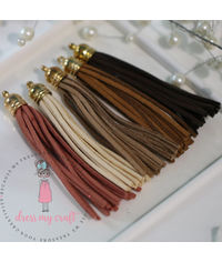 Large Faux Leather Tassel - Earthy Tones