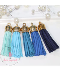 Medium Faux Leather Tassel - Blue Family