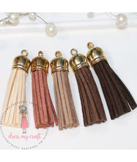 Medium Faux Leather Tassel - Earty tones