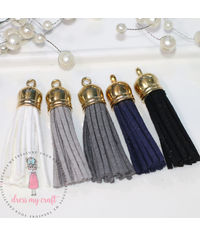Medium Faux Leather Tassel - Ebony & Ivory