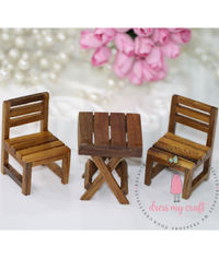 Miniature Wooden Brown Chair & Table