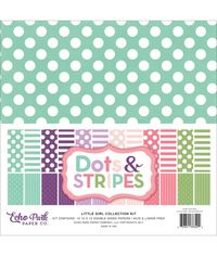 "Little Girl Dots & Stripes Double-Sided Collection Pack 12""X 12"" 12/Pkg"