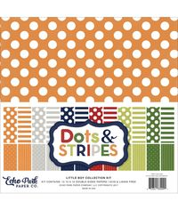 "Little Boy Dots & Stripes Double-Sided Collection Pack 12""X12"" 12/Pkg"