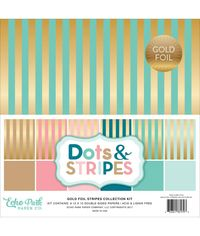 """Stripe W/Gold Foil Double-Sided Collection Pack 12""""X12"""" 6/Pkg"""