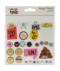 Emoji Love Metal Brads & Tags 26/Pkg