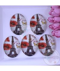 Oval Glass Cabochon - Effiel Tower