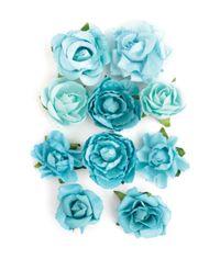 """Sea Breeze - Paper Blooms 1"""" - 1.5"""" 10/Pkg"""