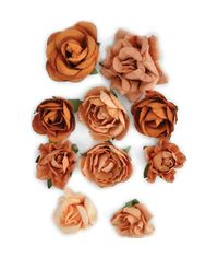 "Terra-Cotta - Paper Blooms 1"" - 1.5"" 10/Pkg"