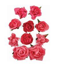 "Hot Pink - Paper Blooms 1"" - 1.5"" 10/Pkg"