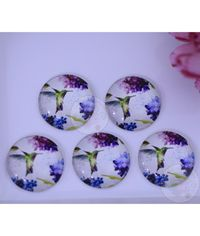 Small Round Glass Cabochon - Flying Bird