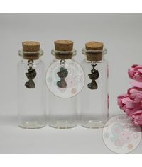 Glass Bottle with Charm (Cute Cat)