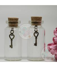 Glass Bottle with Charm (Heart Key)