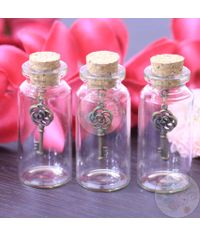 Glass Bottle with Charm (Rose Key)