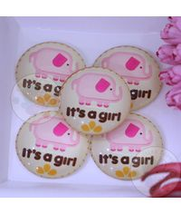 Round Glass Cabochon - It's a Girl