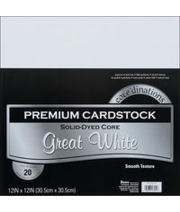 "Great White Cardstock 12""X12"" 20/Pkg"