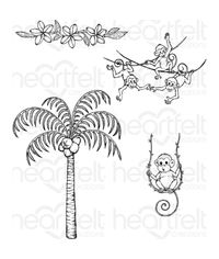 Palm Tree & Monkeys Cling Stamp