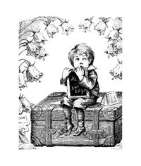 Schoolboy On A Suitcase - Stamp