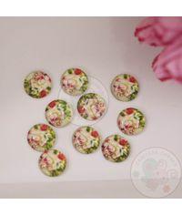 Mini Round Glass Cabochon - Roses All Around