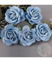 Denim Blue - Mulberry Curved Roses