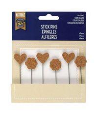 Cork Hearts - Stick Pins