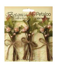 """Peach - Botanica Sugared Berry Clusters 3.25"""" 3/Pkg"""