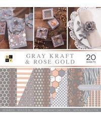 "Gray Kraft & Rose Gold - 12""X12"" Papar Pad"