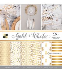 "Gold + White - 12""X12"" Paper Pad"