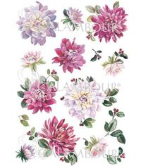 Pale Pink and Fuchsia Dahlia with Small Branches of Berries - Mulberry Rice Paper