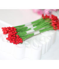 Round Shape Wire Pollen - Red - Wholesale Pack