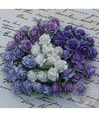 Purple Lilac Tone & White - Micro Roses Combo
