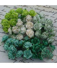 Green Tone & White - Micro Roses Combo