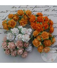 Orange Peach Tone & White - Micro Roses Combo