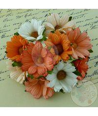 PEACH/ORANGE/WHITE - Mulberry Daisy Flower Combo