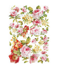 Leaves, Colorful Flowers and Yellow Oleander Flowers - Mulberry Rice Paper