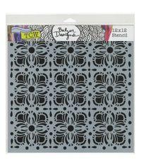 Flower Tiles - Stencil 12 x 12