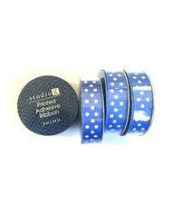 Printed Ribbon Blue Polka - Studio G Adhesive