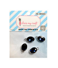 Crystal Oval Charm - Ink Blue