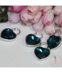 Crystal Heart Charm - Deep Blue