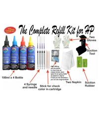 GoColor The Complete Refill kit for HP Printer ( 100 ml X 4 Color Bottle & Complete Accessories )