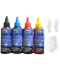 GoColor HP Premium High Quality Inkjet Refill Ink Black Pigment & C/M/Y Dye Ink 100 Ml X 4 Colors