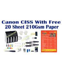 GoColor Empty Continuous Ink Tank Supply System CISS Kit Compatible for Canon Inkjet Printer With 20 Sheet 4R Size Paper Free
