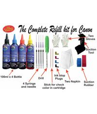 GoColor The Complete Refill kit for Canon Printer ( 100 ml X 4 Color Bottle & Complete Accessories )