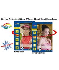 Gocolor Professional RC Glossy Inkjet Paper Waterproof 270 GSM A4/20 + 4R/100 Sheets Paper Combo Pack ( Big Saving )