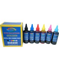 GoColor Premium Quality Inkjet Ink 100 Mlx 6 Colours for L Series Printer