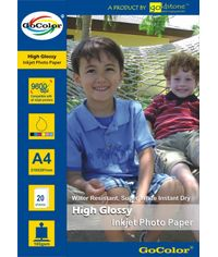 GoColor High Glossy Inkjet Paper 165Gsm A4  20 Sheets